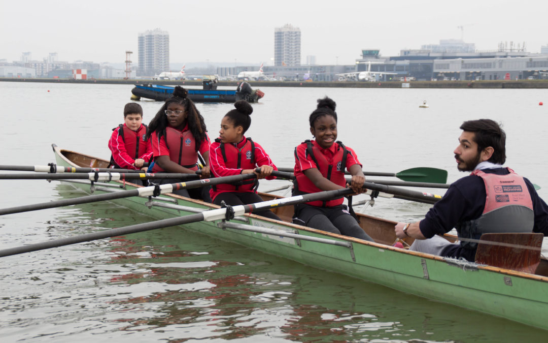 Year 8 rowing at Royal Docks